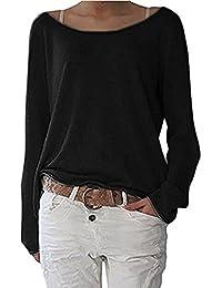 YMYY-Kleider Mujer Moda Suelta Cuello Barco Manga Larga T Shirt Sudadera Remata Camisas Casual