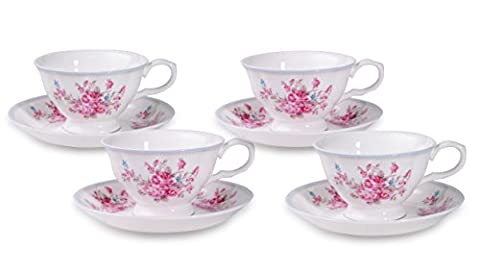 Set of 4 Country Rose Bone China Cups and Saucers