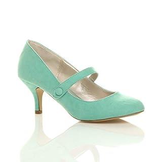 Damen Hoher Absatz Mary Jane Formal Abend Party Ball Pumps Schuhe Größe 5 38