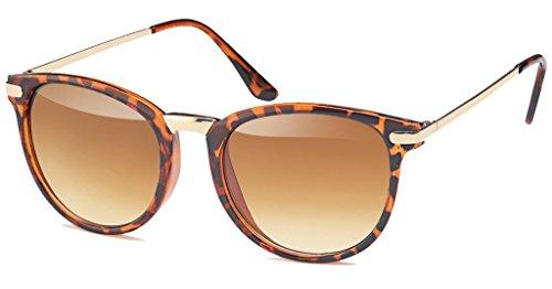 UVprotect® Damen Retro Wayfarer Style Sonnenbrille mit leichtem cateye havanna W68-4
