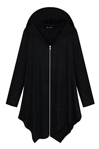 Frauen So Lange Ärmel Reißverschluss Bis Kapuzenpulli Asymmetrischen Midi - Sweatshirt Outwear Plus Size Black (Outfits Plus Size)