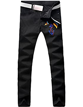 jeansian Moda Pantaloni Casual Uomo Ricamo la Pirata Ancora Bandiera Jeans Cool Skinny Denim Pants MJB107