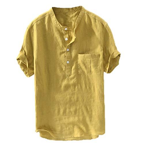 Fit Short-Sleeve Freizeithemd Standard-Fit Leinenhemd Leinen Shirt LangäRmelig Hemden Mit Stehkragen Kurze Knopfleiste Slim Fit(Gelb,XXXXXXL) ()