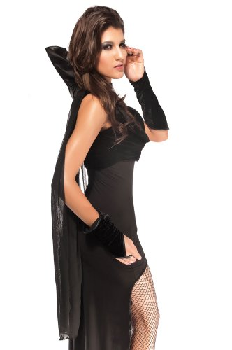Damen Schwarz Sexy Night Countess Kostüm Dark Vampire Halloween Fancy Dress Outfit Gr. M, (Outfits Sexy Hallowen)