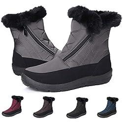 gracosy Botas Nieve Mujer Impermeable Antideslizante Piel Forrado Tela Sintética Invierno Cálidas Botas Peso Ligero Plano Media Pierna Zapatos