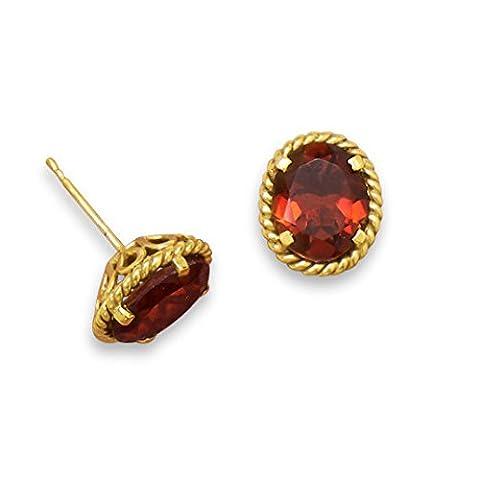 14 Karat Gold Plated Brass Garnet Doublet