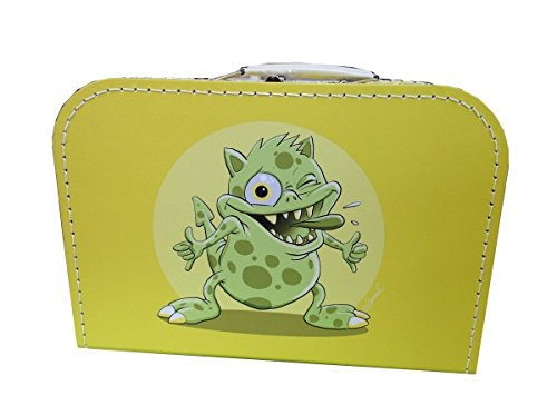 Valise en carton jaune avec monstre 30 cm