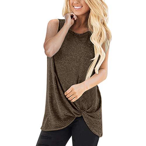 Ärmellos Tops für Damen, Dorical Frauen Baumwollmischung Sommer Tank Tops Einfarbig T Shirt,Lose Freizeithemd Blusen, 9 Farben,S-2XL (80% Rabatt)(Braun,Medium)