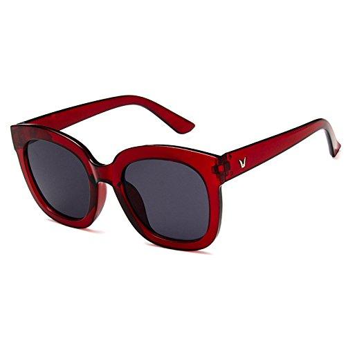 Sunyan Rundes Gesicht koreanischen Antike neue Runde Sonnenbrille Frauen Augen Farbe Gläser weiblichen tide Star 5137, Wein rote Asche - Asche Wein