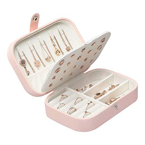 Lrikas scatole portagioie gioielli da viaggio da donna organizzatore da ragazza custodia piccola da gioielleria per anelli orecchini collane bracciali, 16,5 x 11,5 x 5,5 cm (rosa)