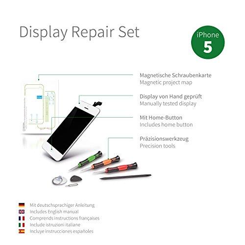 GIGA Fixxoo Kit di Ricambio per Schermo di iPhone 5, Completo con LCD Bianco