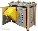 Edelstahl Mülltonnenbox für 2 Tonnen 120L mit Pflanzenwanne und Holzpfosten (HW11T), Mülltonnenhaus Mülltonnenverkleidung