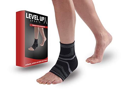 Levelup-Sports - Fußbandage Premium Qualität - Sprunggelenk-Bandage für Schmerzlinderung, Stabilisierung, Schutz und Kompression - Für Fitness und Sport - links & rechts tragbar (S)