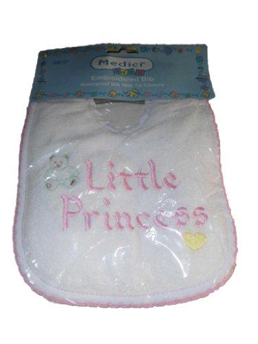 medici-wasserfestes-latzchen-mit-little-princess-bestickt-weiss-rosa-umkettelt-aus-usa
