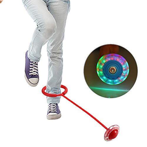 Caviglia Skip Ball, LED luce lampeggiante palla Skip Ball caviglia Skip Hop Swing Jumping Ball Dancing Ball Toy Ball Games Foot Ball sport esercizio attrezzature fitness regalo per bambini, adulti Red