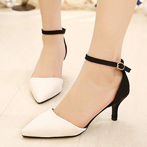 Damen Sandalen Spitz Zehen Geschlossen Knöchelriemchen Einfach Klassisch mit Schlagen Prägung Strapazierfähig Bequem Rutschhemmend Modisch Stiletto Weiß