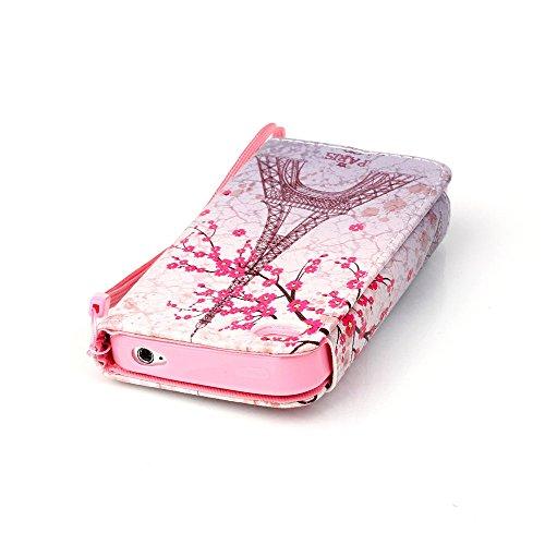 Nancen Apple iphone 6 / 6S (4,7 Zoll) Leder Hülle / Case. Verbesserte Version Stabil Rechteck Magnetverschluss Design - PU Flip-Case Lederhülle Handyhülle Brieftasche Tasche Standfunktion Lanyard Foli Paris