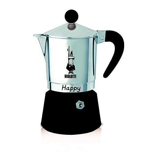 Bialetti - 8013 - Happy - Cafetière Italienne en Aluminium - 6 Tasses - Noir