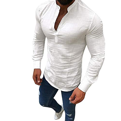 Herren Leinen Hemd V-Ausschnitt Langarmshirt Einfarbig Kurzarmshirt Vintage mit Knopfleiste Shirt Business Freizeithemd Muscle T-Shirt Sport Fitness Training Hochzeit Shirt Tops Bluse -