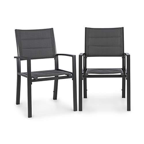 blumfeldt Torremolinos Gartenstühle - 2 Stück, Rahmen: Aluminium, ComfortMesh, Sitzfläche: 40 x 43 cm, wasserabweisend, ClassicComfort Polsterung, dunkelgrau
