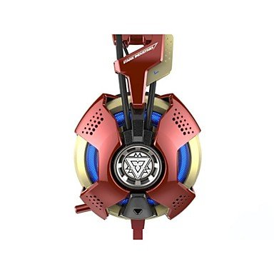 Bright-E-3lue IRON MAN 3 THS901 Kollektion Limited Edition Over-Ear-Surround USB Gaming Headset für PC (Red) (Wii-remote-special Edition)