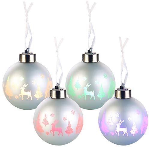 Lunartec LED Weihnachtskugel: Christbaumkugeln mit Farbwechsel-LEDs, Ø 8cm, 4er-Set (LED Weihnachtskugeln kabellos)