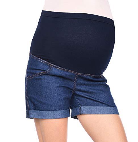 Mija - Kurze Jeans Umstandsshorts/Umstandshose mit Bauchband für Sommer 3086 (44, Denim Marineblau)