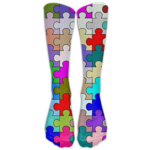 Personalized Puzzle Piece Colorful Athletic Tube Stockings Women's Men's Classics Knee High Socks Sport Long Sock One Size (Open Toe Thigh High Socks)