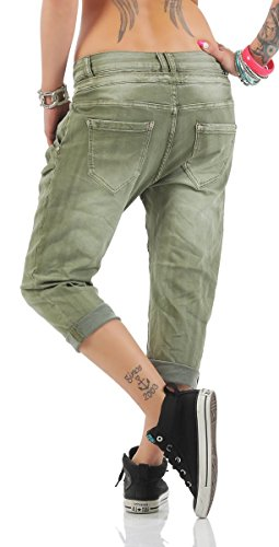 11133 Fashion4Young MOZZAAR Damen Jeans Röhrenjeans 7/8 Haremshose Baggy Übergrössen Khaki