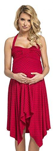 HAPPY MAMA. Femme Maternité d'allaitement Asymétrique Robe Dos Nu.656p (Framboise avec des Coeurs, 40-42, L)