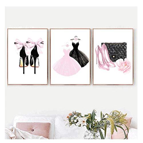 xwwnzdq 3 STÜCKE Wandkunst Leinwand Malerei Rosa Dame Kleid High Heel Parfüm Nordic Poster Und Print Aquarell Wandbilder Für Wohnzimmer MädchenKein Rahmen -
