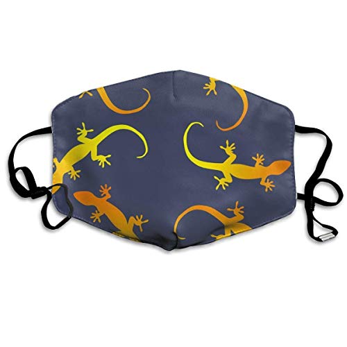 (Masken für Erwachsene, Lizards Gecko Party On Dark Blue Breathe Healthy. Dust, Allergy & Flu Mask - Comfortable, Washable Face Mask - Ideal for Dog Grooming - Protection from Dander, Hair, Dust,)
