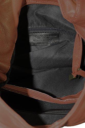 CTM Borsa da Donna a Spalla con cerniera, Borsa a Mano, 41x55x12cm, Vera pelle 100% Made in Italy Marrone Scuro