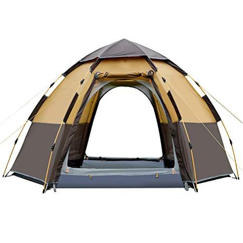 WING Outdoor-Sportzelt 5-8 Personen Automatische UV-Schutz Pop-Up Camping Sun Shelter Wasserdicht Hexagon Doppelschichtzelt, für Angeln Wandern Rucksack wasserdicht Family Camping Zelt (Angel Wing Rucksack)