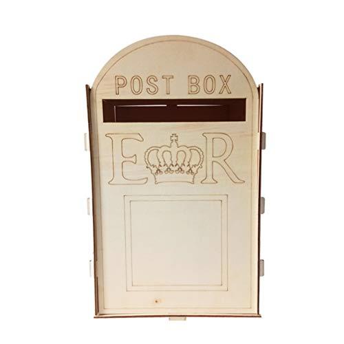 SUPVOX Hochzeit Briefkasten Holz Rustikale Geschenkkarte Inhaber Briefkasten mit Schloss Handwerk Ornamente Hochzeitsfeier Dekorationen Lieferungen