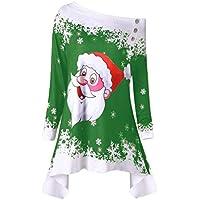 Damen Festliche Weihnachten Santa Drucken Pullover Langarm T-Shirt Sweatshirts Schulterfrei Oberteil One Shoulder Tops Langarmshirt Pulli Mode Asymmetrisch Blusen Jumper Hemd Longshirt Rovinci