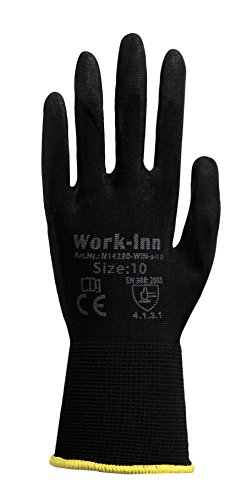 12 Paar Arbeitshandschuhe Montage-Handschuhe PU-Beschichtung | Größe XL | Nylon-Handschuhe nahtlos | wasserabweisende Grip-Handschuhe | Schutzhandschuhe + atmungsaktiv + rutschfest + reißfest + EN388