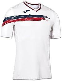 Joma Picasho Tenis - Camiseta de manga corta para hombre, color blanco / rojo, talla M