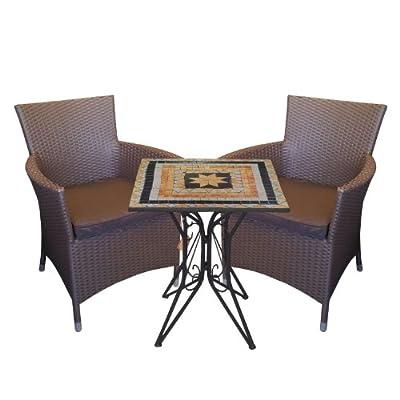 3tlg. Bistro-Set Mosaiktisch 60x60cm Poly-Rattansessel inkl Sitzpolster Braun Gartengarnitur Balkonmöbel Sitzgruppe