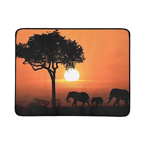 WOCNEMP Silueta Elefantes africanos al Atardecer Portátil y Plegable Estera de Manta...