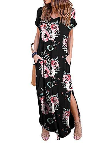 Oudiya+Sommerkleid Damen Lang Boho Kleider Kurzarm Strandkleider Maxi-Kleid Side Split Cocktail Elegant mit Tasche (Pattern-4, S) - Maxi-kleid