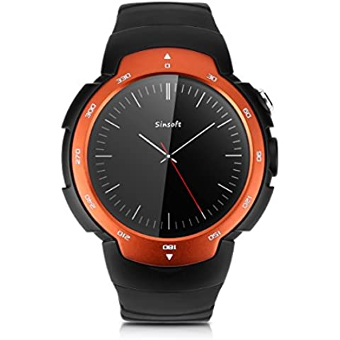 Zeblaze Blitz 3G / 2G WiFi Smartwatch Android 5.1 MTK6580 Quad Core WCDMA GSM Intelligente Orologio GPS Bluetooth 4.0 Fotocamera Arancione - Acciaio Arancione Dial