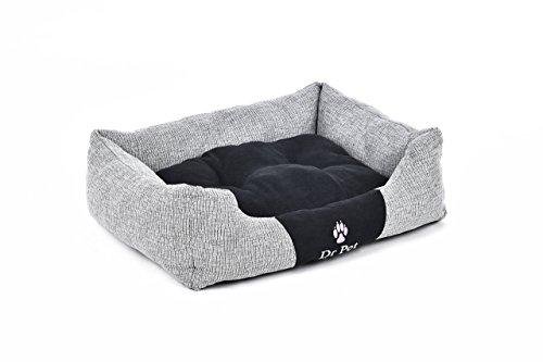 Hundebett Hundekissen Hundekorb Tier Schlafplatz Hund Katze Inkl.Spielzeug (XL Grau/Schwarz) - 3
