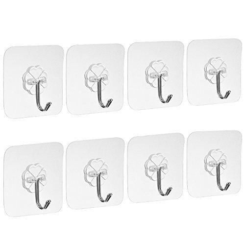 Blulu ganci adesivi chiodo libero pesanti trasparente per cucina bagno porta soffitto appendiabiti, 8 pezzi