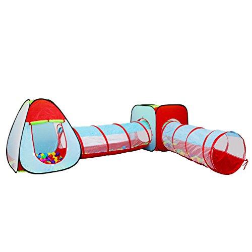 iNeibo Children Tenda bambini/Tunnel bambini, Tunnel a gioco utilizzabile sia all'interno di casa che all'esterno composto da 4 componenti (2 Tende+2 Tunnel), 24 mesi di Garanzia!