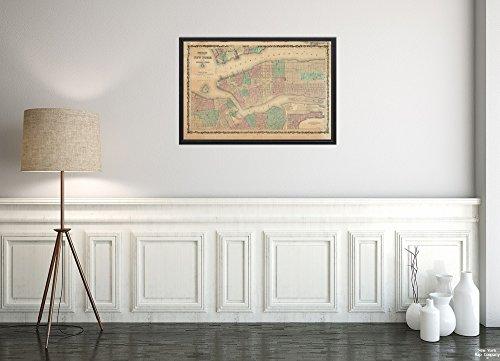 1864 Karte New York New York, Johnson's of New York und die angrenzenden Städte Karte von New York und der historischen Antik-Vintage-Nachdruck, fertig zum Rahmen.