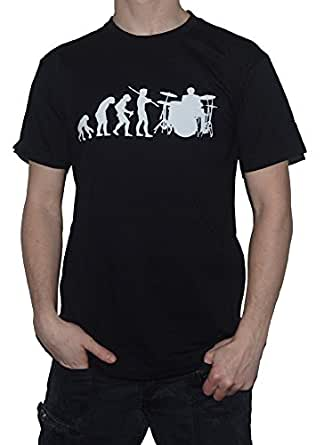 Ape to Drummer (with drum kit) Funny T-Shirt - Evolution of Man T-Shirt (Small, Black)