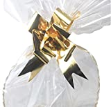 3x Easter Hamper Basket Bags - Includes: 3x Large Cellophane Bags and 3x Bows