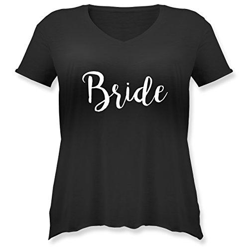 JGA Junggesellinnenabschied - Bride Lettering - Weit Geschnittenes Damen Shirt in Großen Größen mit V-Ausschnitt Schwarz