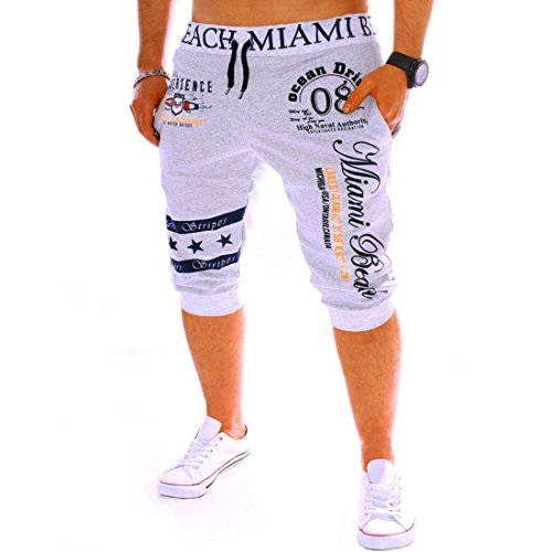 Men's Digital Printed Cotton Casual Shorts gray